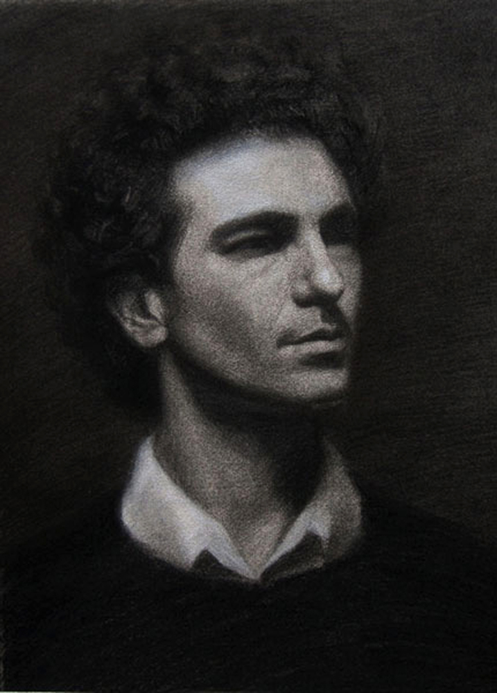 Italiano, 2008, charcoal and chalk on paper, 19x26in (48x66cm)