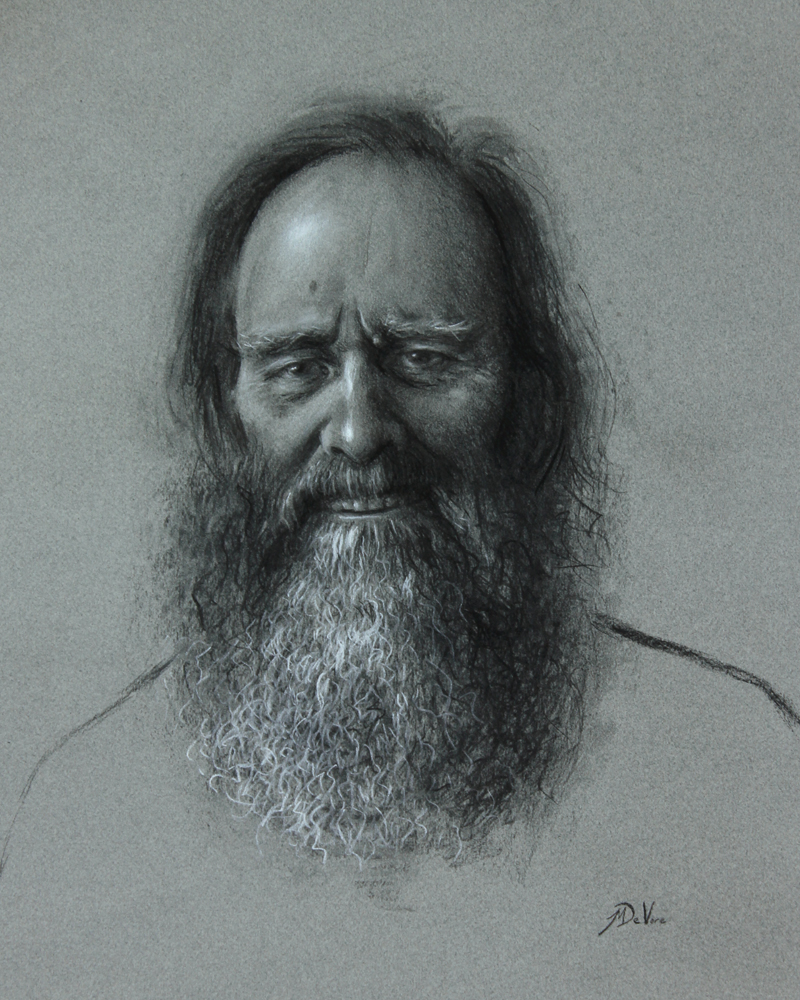 Man Laughing, 2013, charcoal and chalk on paper, 20x16in (50x40cm)