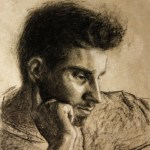 Pensive, 2012, charcoal and chalk on paper, 11x14in (28x35.5cm)