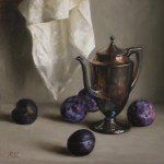 Pewter and Plums, 2015, oil on panel, 16x16in (40x40cm)