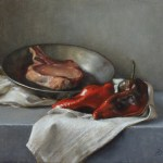 Pork Chop and Poblanos, 2012, oil on linen, 14x16in (35.5x40.5cm)