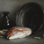 Red Snapper With Crispbread, 2014, oil on linen, 14x18in (35.5x46cm)