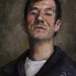 Self-Portrait in Blue Sweater, 2010, oil on panel, 4.5x6in (11.4x15cm)