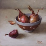 Shallots, 2015, oil on panel, 8x8in (20x20cm)