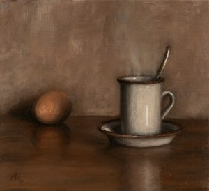 Simple Breakfast, 2012, oil on linen, 10x9in (25.4x23cm)