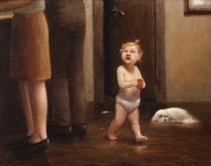 The Sneaky Child, 2013, oil on panel, 11x14in (28x35.5cm)