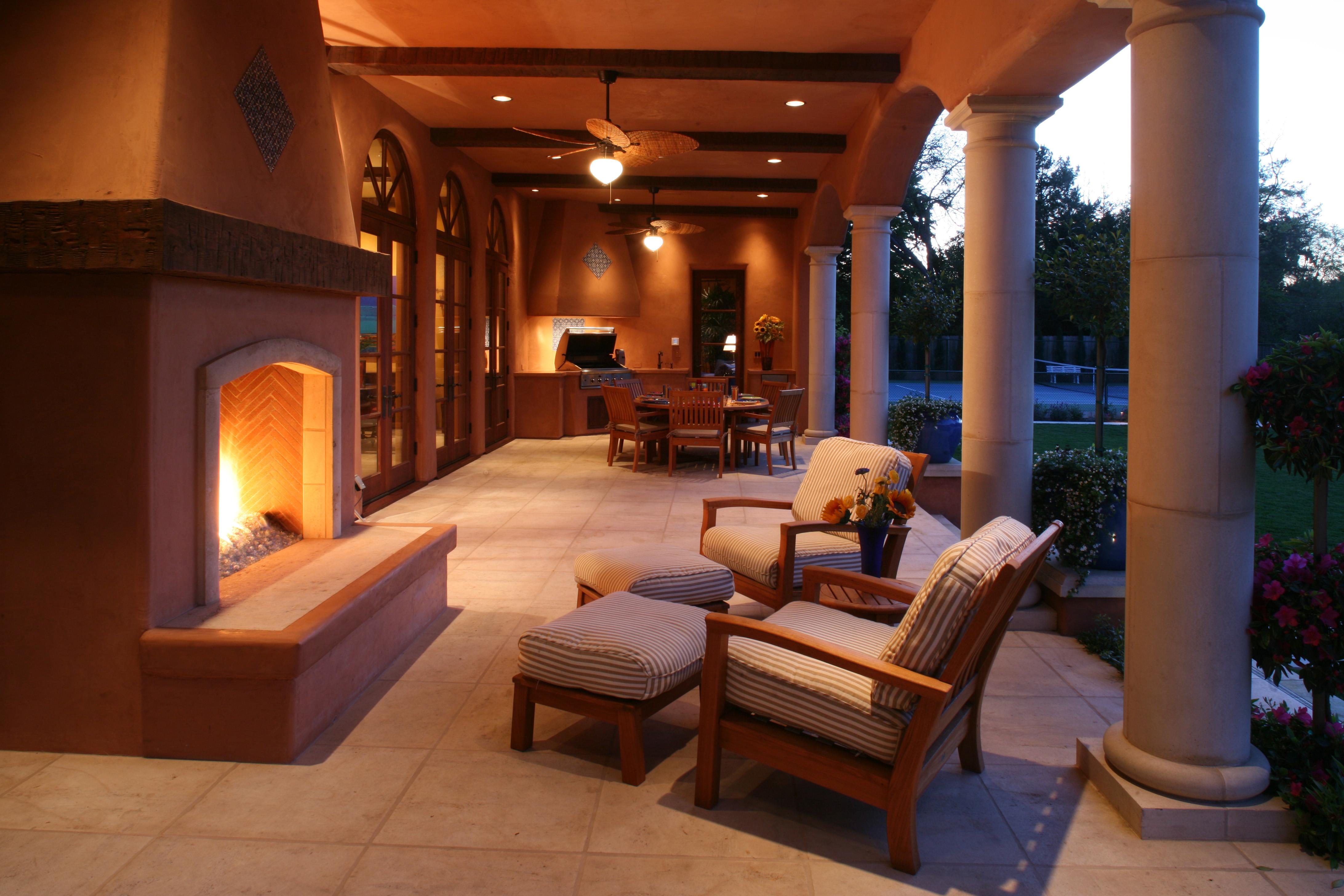 Covered Loggia Seating Area  Michael Glassman  Associates