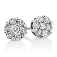 Cluster Stud Earrings with 0.33 Carat TW of Diamonds in