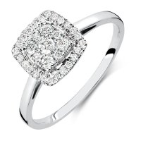 Engagement Ring with 0.33 Carat TW of Diamonds in 10kt ...