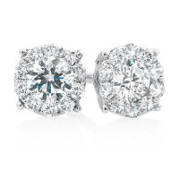Cluster Stud Earrings with 1/2 Carat TW of Diamonds in