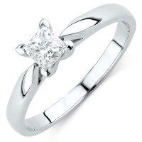 Solitaire Engagement Ring with 1/2 Carat Diamond in 14ct ...