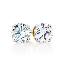 Stud Earrings with 1/2 Carat TW of Diamonds in 10ct Yellow ...