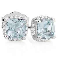 Stud Earrings with Aquamarine & Diamonds in 10ct White Gold