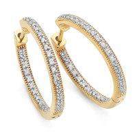 Hoop Earrings with 0.15 Carat TW of Diamonds in 10ct ...