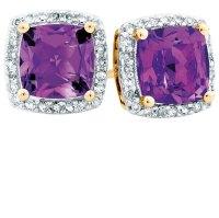Stud Earrings with Amethyst & 0.15 Carat TW of Diamonds in ...