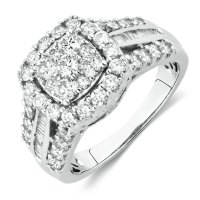 Engagement Ring with 1 1/2 Carat TW of Diamonds in 10ct ...