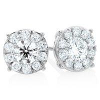 Halo Stud Earrings with 1 Carat TW of Diamonds in 10kt ...