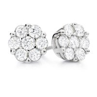 Cluster Stud Earrings with 1 Carat TW of Diamonds in 10kt