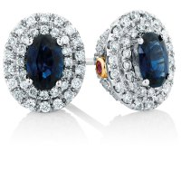 Michael Hill Designer Stud Earrings with Sapphire & 1/2 ...