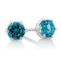 Gold Topaz Earrings 14k White Gold Blue Topaz And Diamond ...