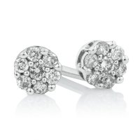Cluster Stud Earrings with 1/10 Carat TW of Diamonds in ...