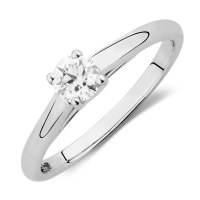 Ideal Cut Solitaire Engagement Ring with a 1/3 Carat ...