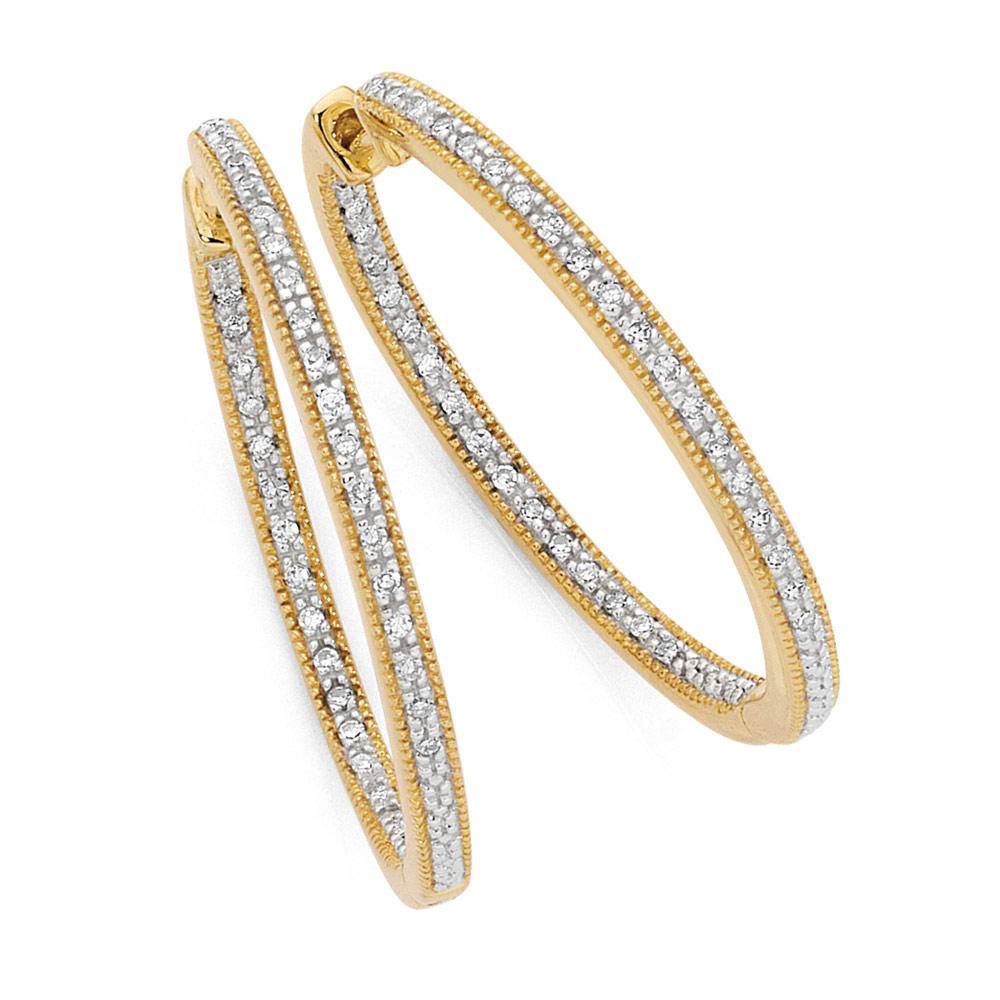 Hoop Earrings with 1/4 Carat TW of Diamonds in 10kt Yellow