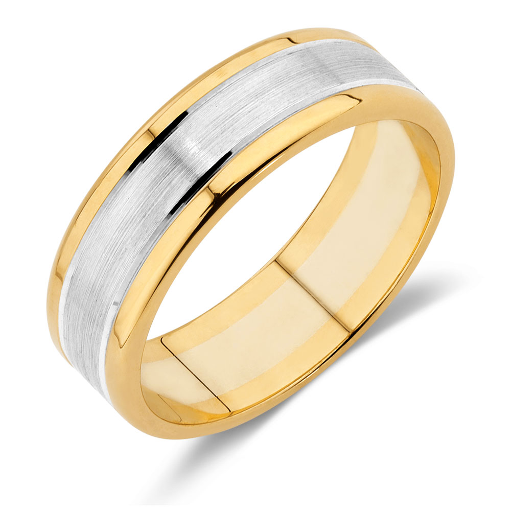 Mens Wedding Band in 10kt Yellow  White Gold