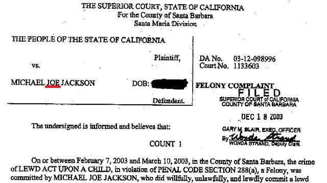 Michael Jackson's indictment