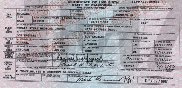 Birth certificate of Michael Jackson's oldest son