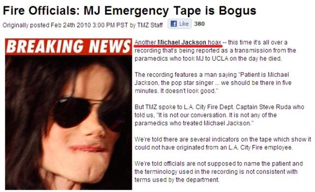Michael Jackson emergency tape is bogus
