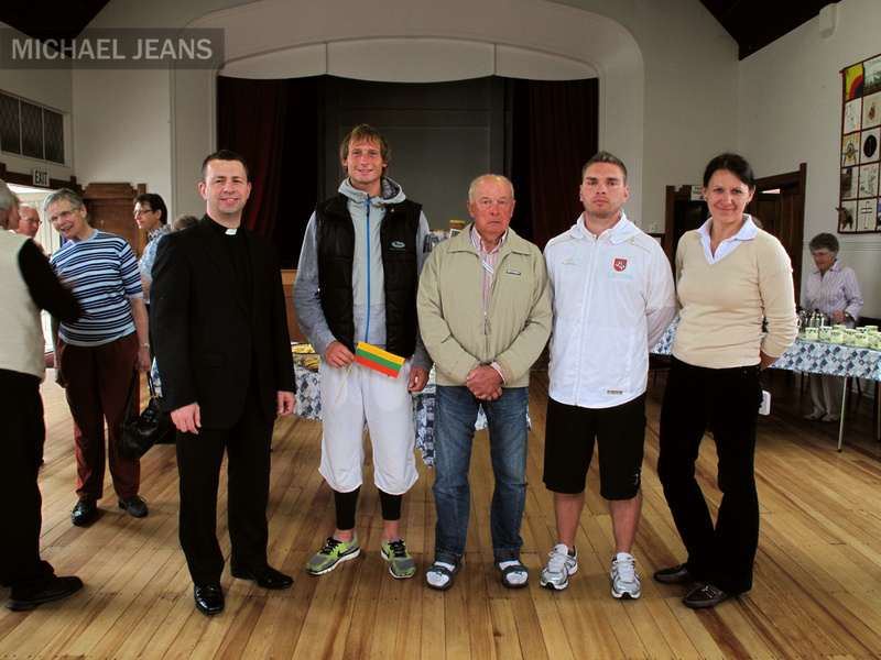 Lithuanian rowing team at St Andrew's Anglican Church Cambridge New Zealand