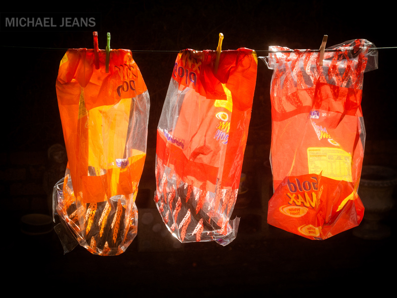 Bread bags on our washing line