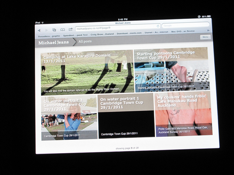 iPad rendering of my website 1 April 2011