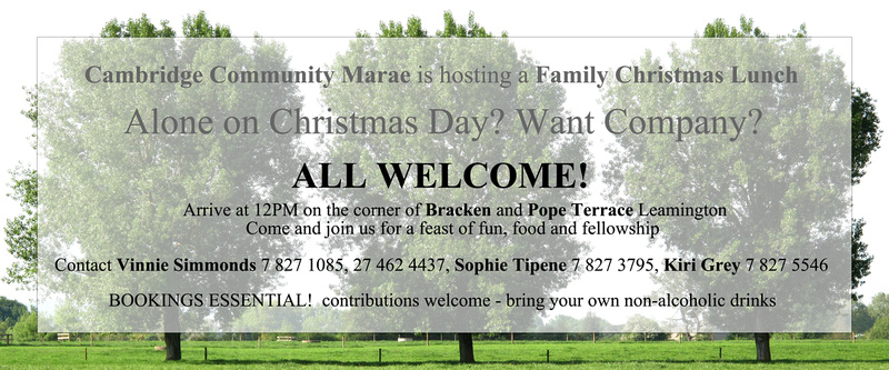 Join us on Christmas Day at Cambridge Community Marae