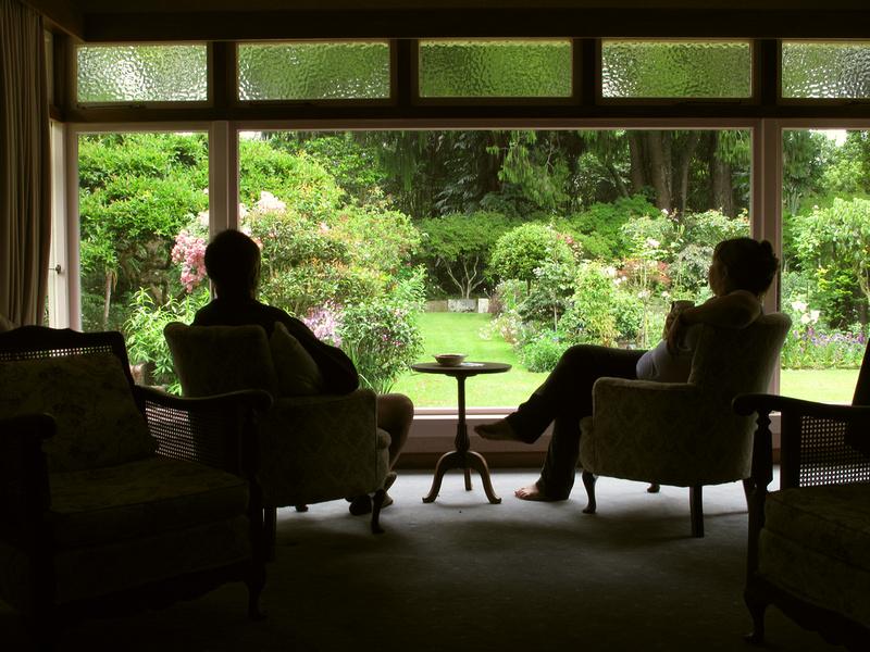 Mark and Abbie in the sitting room at Tikorangi