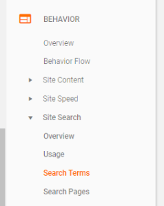 This is a screenshot of where to find Shopify Search Terms in Google Analytics