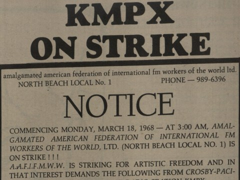 KMPX On Strike SF Express Times 21 March 1968