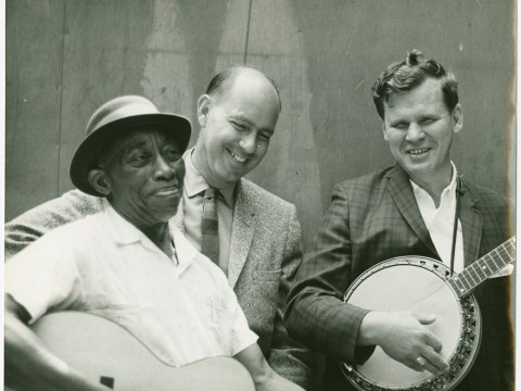 Mississippi John Hurt, Sam Hinton, Doc Watson @ 1964 Berkeley Folk Music Festival. Photographer: Kelly Hart.