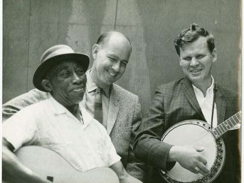 Mississippi John Hurt, Sam Hinton, Doc Watson @ 1964 Berkeley Folk Music Festival. Photographer: Kelly Hart.