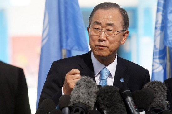 United Nations (UN) Secretary General Ban Ki-moon speaks during a press conference as he visits Abu Hussein United Nations school at the Jabalia refugee camp in the northern Gaza Strip on October 14, 2014. The UN chief's visit to the Gaza Strip came a day after a Cairo conference at which international donors pledged USD 5.4 billion (4.3 billion euros) to rebuild the war-ravaged Gaza Strip. Photo by Abed Rahim Khatib/Flash90 *** Local Caption *** îæëì äàåí áàï ÷é îåï òæä áéú ñôø îãáø çîàñ àå''í