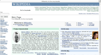 Epiphany in Web Application mode showing Wikip...