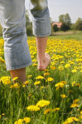 Walking barefoot in flowers