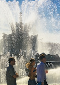 Fountain and People