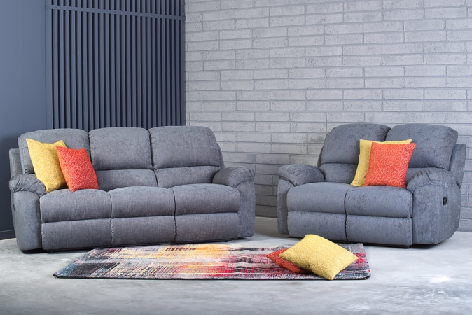 leona 3 seater recliner sofa velvet chesterfield ireland charcoal michael murphy home furnishing