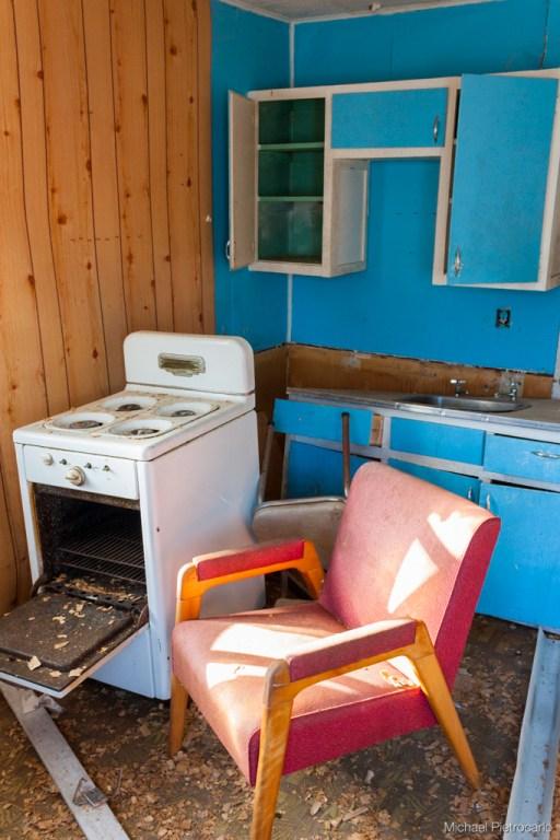 Kitchen of abandoned roadside hotel, Ontario
