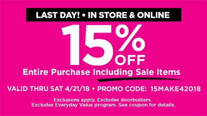 15% OFF Entire Purchase - Last Day
