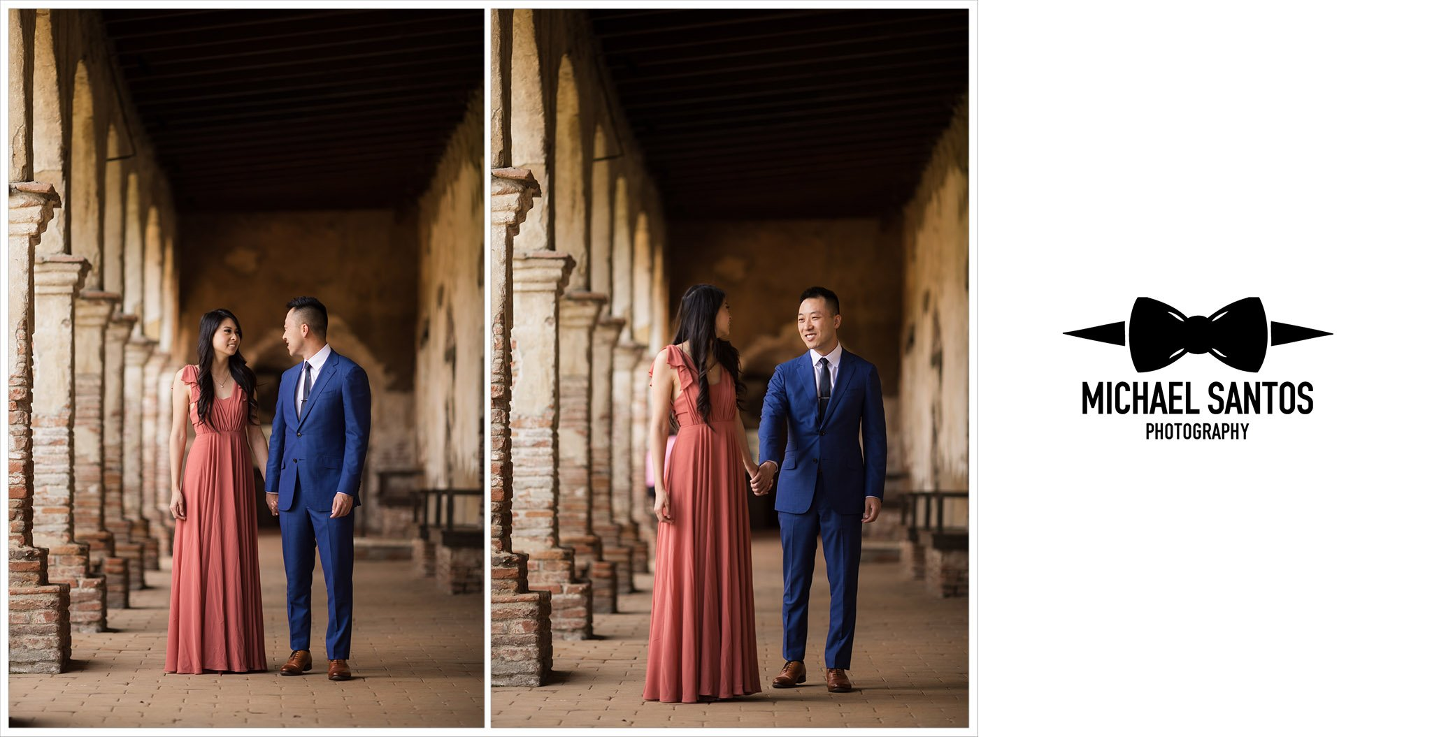 two photos of couple walking during their mission san juan capistrano engagement session