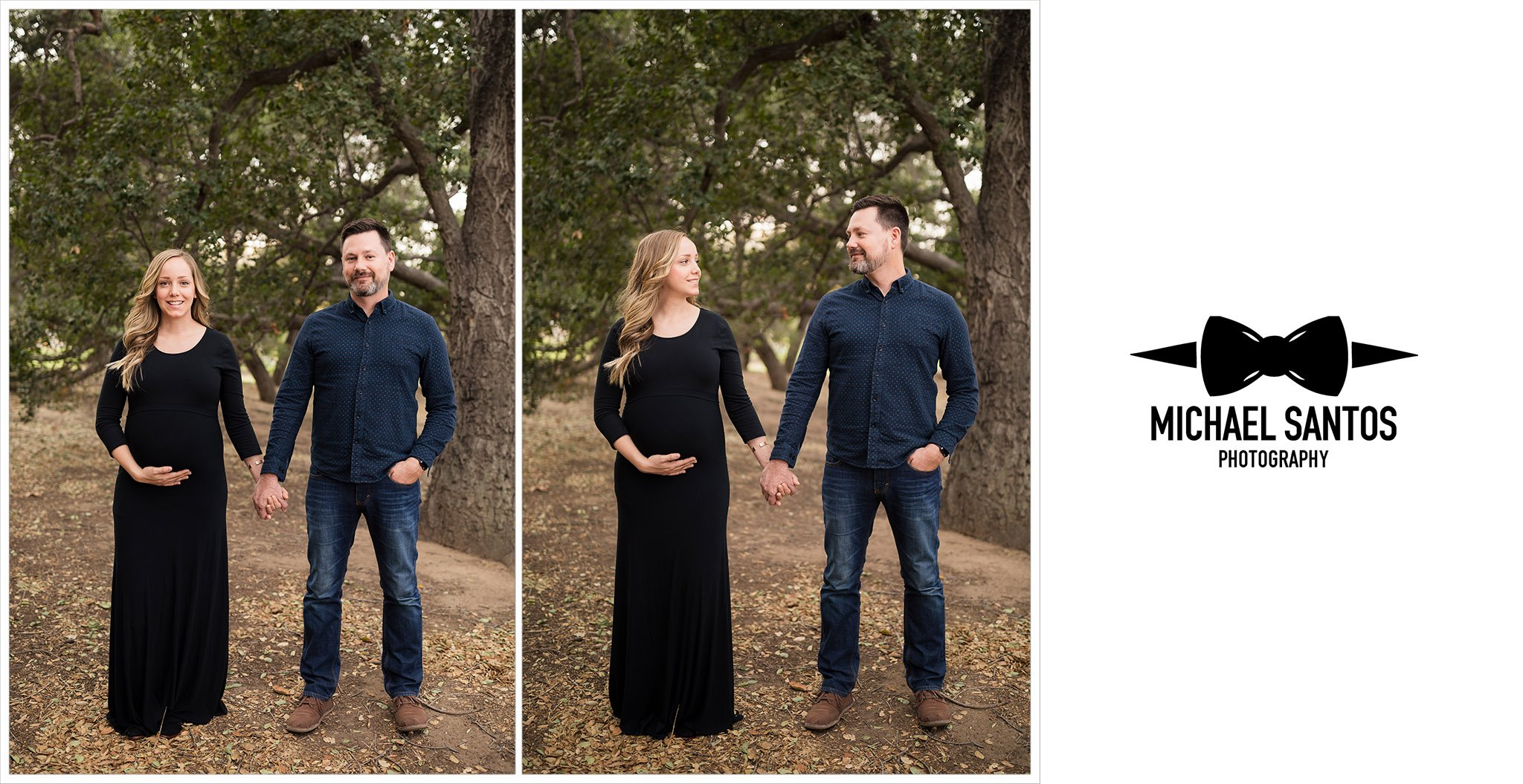 side by side photos of married couple standing and holding hands
