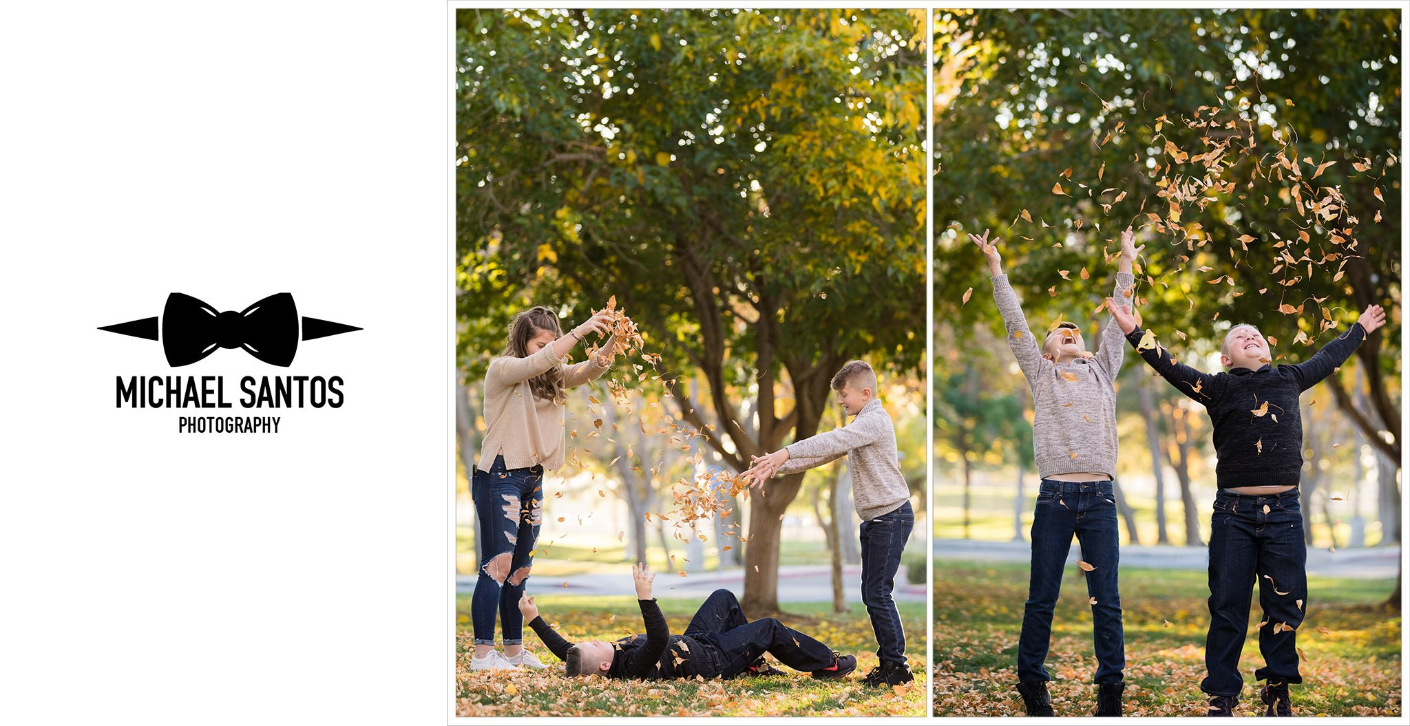 kids jumping with leaves during their lancaster family photography session
